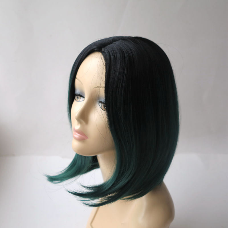 Fashion Sexy female Natural Straight Central Parting Full Wig ombre black green cosplay wig short synthetic wigs for black women<br><br>Aliexpress