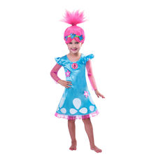 Wearing a wig Summer Trolls Dress Christmas Costumes For Girls  Lace Mesh Dress Baby Girls Teenage Children Clothing 10 Years