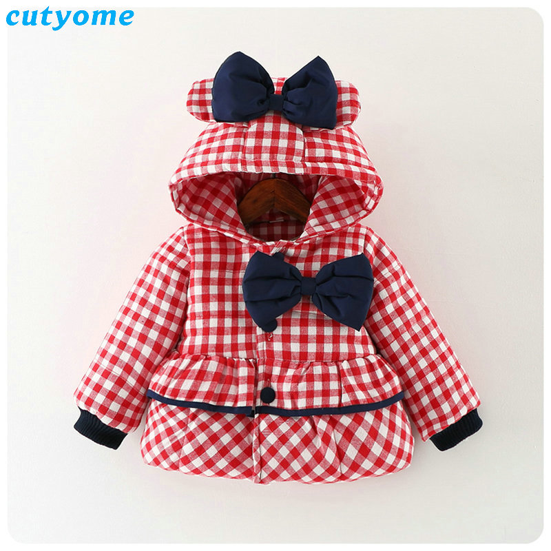 Cutyome Newborn Baby Girls Outwear Coats Hooded Plaid With Bow Cotton Winter Jackets Children Infant Padded Thick Jacket Clothes (29)