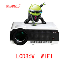 Hot Sale! 2017 Newest Original 5500lumens Android 4.4 LCD Projector WiFi Bluetooth factory projector PK Smart television