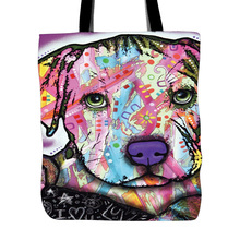 Custom Tote Bag Personalized Portrait Pet Art Illustration Dog Portrait Cat Dog Lover Gift Pet Loss Gift Canvas Tote Bags
