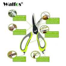 WALFOS kitchen scissors knife for fish chicken household stainless steel multifunction cutter shears with magnetic cover(China)