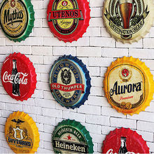 Retro Vintage Metal Iron Round Coke Beer Bottle Cap Metal Sign For Drinking Poster Plaque Bar Pub Restaurant Wall Decor 22cm