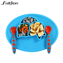 Fulljion Baby Solid Feeding Silicone Bowl Plate Tableware Eat Food Container Placemat Children Plates Dishes Soup Feed Toy Sugar(China)