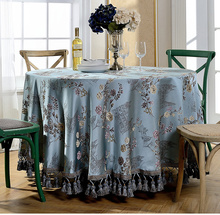 Top Sale Europe Vintage Luxury Embroidery Round Tablecloth Jacquard Floral Table Cloth Beautiful Edging Tassels Square Mantel