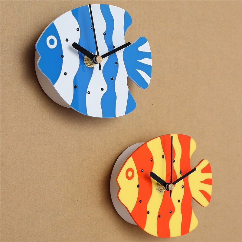 Charminer New Plastic Magnet Blue Orange Clock Refrigerator Kitchen Wall Clock Fish Design Plastic Fish Refrigerator Magnet(China (Mainland))