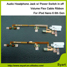 Audio Headphone Flex Cable Jack w/ Power Switch on/off Button+Volume Control+ Keyboard Audio Jack Flex Cable For iPod nano 6