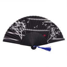 1pcs Chinese Bamboo Folding Silk Hand Fan Elegant Flower Print Hand Fan with Gift Box Wedding Party Favors
