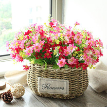 Floace High Quality Rattan basket vase + flowers rose artificial flower set silk flowers home decoration Birthday Gift(China)