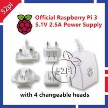 Official Raspberry Pi 3 Model B Power Supply 5.1V 2.5A Micro USB Power Adapter Charger with EU/US/UK/AU Plug White(China)