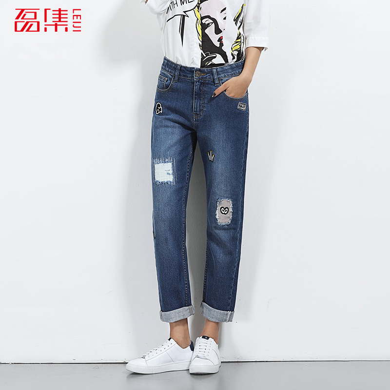 2017 LEIJIJEANS New Arrival Summer Fashion Boyfriend Jeans Loose Style Mid Waist L-6XL Full Length Jeans Women Straight PantsÎäåæäà è àêñåññóàðû<br><br>