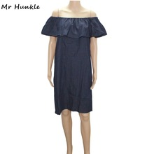 Mr Hunkle Woman Off The Shoulder Ruffle Swing Dress Slash Neck Navy Blue Mini Demin Vestidos Lady's Sexy Night Club Party Dress(China)
