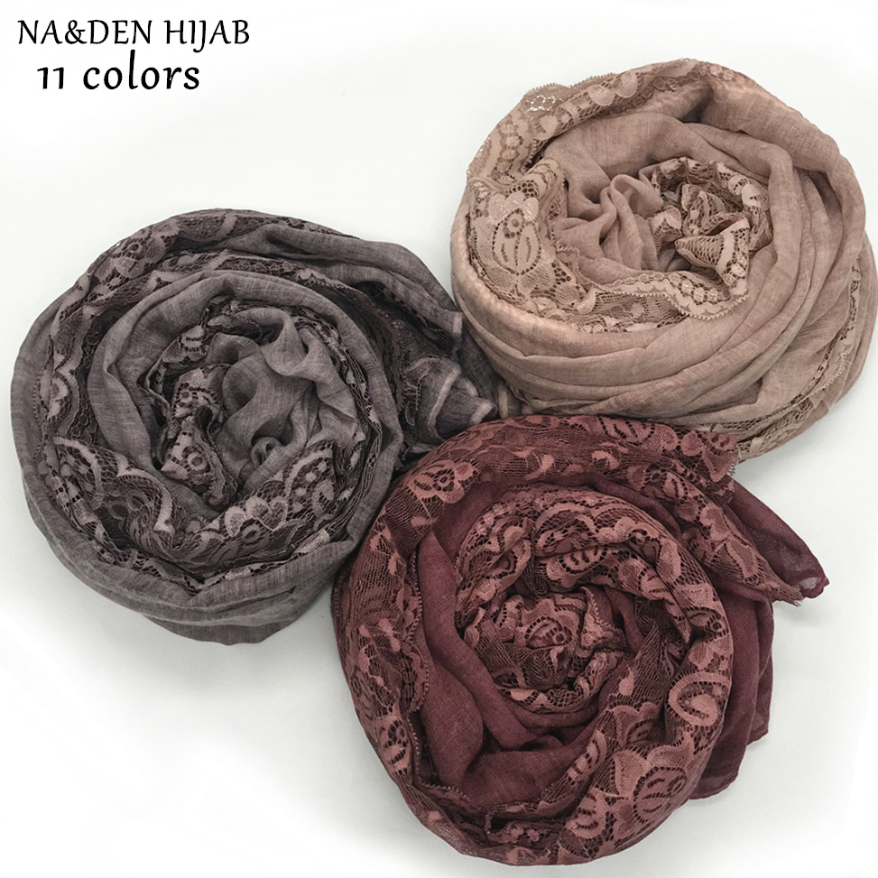 NEW plain lace scarf embroidery flower edges scarves and shawl soft women fashion muslim scarfs islamic hijabs wedding design
