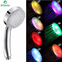 SBLE Adjustable 7 Colors Led Bathroom Shower Head Saving Water Round Single Showerhead Bath Sprinkler 100 real pictures(China)
