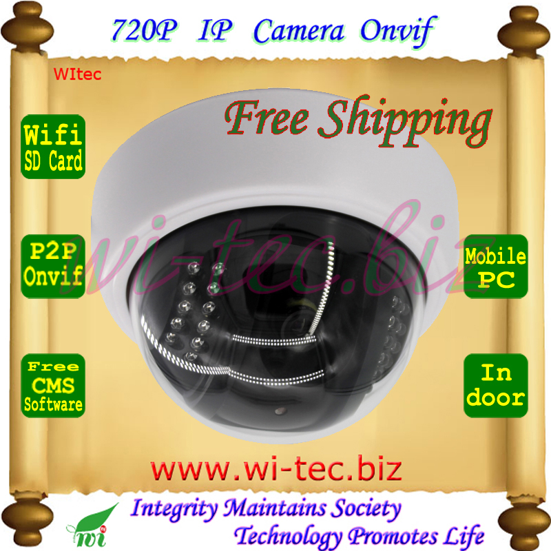 Built in WIFI 720P IR Dome Vandal proof Plastice Indoor CCTV Cam Onvif IP Camera SD Card Alarm Motion detect P2P Mobile view<br><br>Aliexpress
