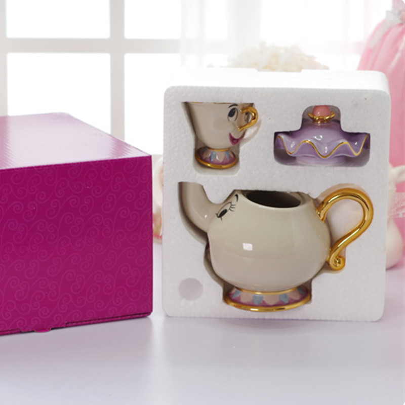 beauty and the beast coffee pot cup set