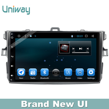 uniway 1 din android car dvd player for toyota corolla  2007 2008 2011 car radio gps  with steering wheel navigation system