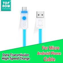 TOPNOW 2.1A Micro USB Cable LED Lighting  Charging Cable for Samsung Galaxy Xiaomi HT Data Cable Sony Colorful Noodle Jelly line