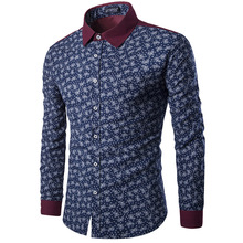 Hot Sale men's fashion  long-sleeved shirt  printing temperament collision color shirts Brand Clothes  England shirts