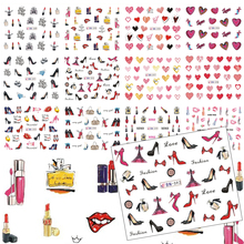 12 Designs Women Nail Art Colorful Water Transfer Decals High Heel/Red Lips/Love Heart/Lipstick Pattern Nail Sticker TRBN589-600(China)