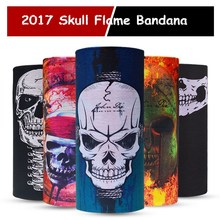 2017 Skull Flame Bandana Headband Sport Bicycle Bike Multi Functional Seamless Tubular Magic Bandanas Tube Ring Scarf Wholesales(China)