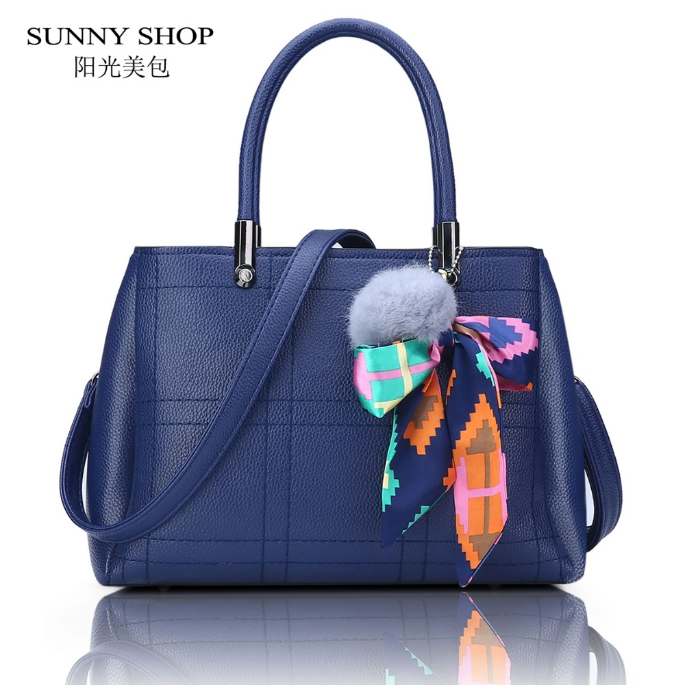 SUNNY SHOP 3 Compartments PU Leather Women Messenger Bags Fashion Plaid Scarves Women Bag Brand Designer Handbags Soft Solid <br>