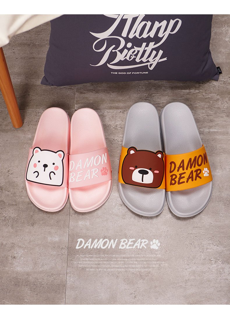 Cartoon Women Summer Slippers Cute Damon Bear Soft Sole Slides Home Slippers Indoor & Outdoor Sandals Women Shoes Flip Flops 13