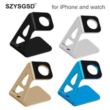 SZYSGSD 2 in 1 For Apple Watch Holder Phone Stand Desktop Aluminum Alloy Charging Dock Station Support For i Watch for iPhone(China)