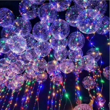 18 Inch Luminous Led Balloon 3M LED Air Balloon String Lights Round Bubble Helium Balloons Kids Toy Wedding Party Decoration(China)