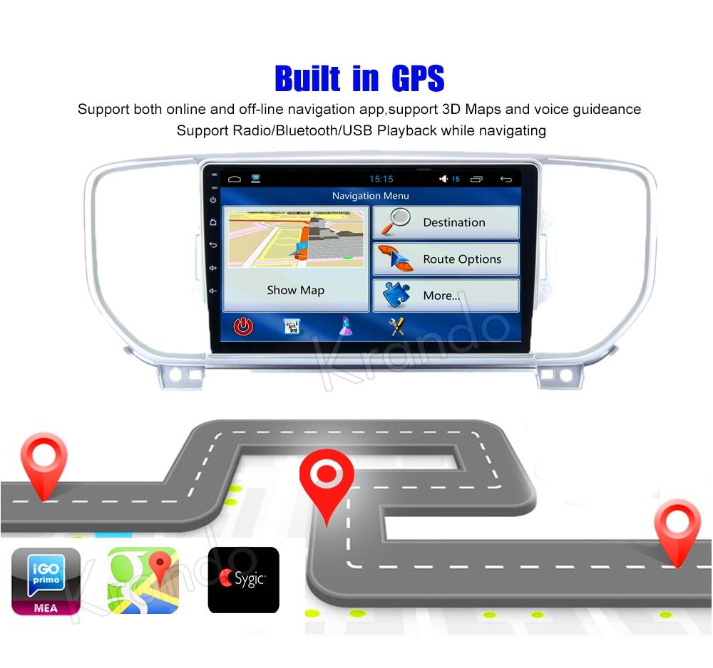 Krando Android car radio gps navigation multimedia system for KIA sportage 2015