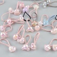 2 pieces Cute Bunny Star Princess Headwear Elastic Hair Bands Girls Sparking Mini Headdress Tie Gum Ropes Hair Accessories A42(China)