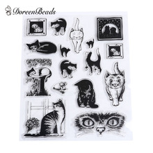 DoreenBeads Silicone Stamps Transparent Cat DIY Scrapbooking Decoration Stamples Approx 7x3.5cm-1.7x1.4cm, 1 Set(China)