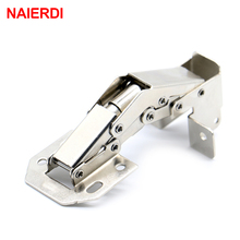 NAIERDI-A101 90 Degree 4 Inch No-Drilling Hole Cabinet Hinge Bridge Shaped Spring Frog Hinge Full Overlay Cupboard Door Hinges(China)