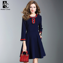 autumn winter woman dress red strip pattern pleated cuff collar beading chest buttons dark blue dress fashion cute preppy dress(China)