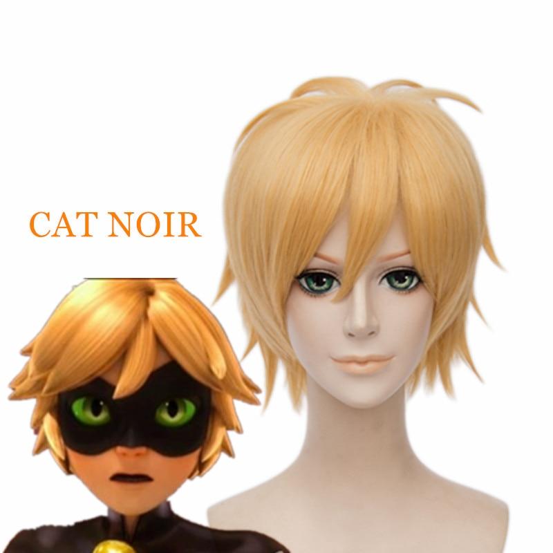 Christmas Party Cartoon Cosplay Wig Miraculous Ladybug Adrien Cat Noir wig 12 inch Short Blonde Straight Wig<br><br>Aliexpress