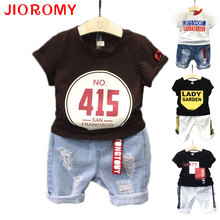 2017 New Boy's Suit Gentleman Short-sleeved T-shirt + Jeans 2 Pieces Set Cool Fashionable Letter Kids Clothes with Holes Denim