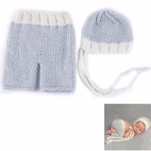 So Lovely!! Soft Cute Newborn Crochet Outfits Baby Hat Baby Cap Newborn Photography Props For 0-6 Month Newborn Knitted Garments(China)