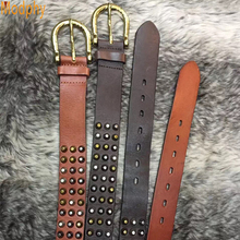 Brwon Color Luxury Design Rivet Genuine Leather Punk Mens Stud Belts Hip Hop Style Jeans Metal gold pin buckle Strap Waist PB282(China)