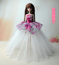 NK One Pcs Handmade Princess Wedding Dress Noble Party Gown For Barbie Doll Fashion Design Outfit Best Gift For Girl' Doll 015A