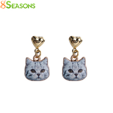 8SEASONS New Fashion Women Stud Earrings Gray Brown White Cat Animal Heart Gold Color Stud Earrings 23x13mm, 1 Pair(China)