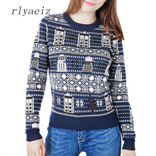 RLYAEIZ New 2017 Autumn Winter Sweater Women Casual Robot Pattern Christmas Style Pullover Knitted Sweaters Female Loose Tops(China)