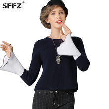 SFFZ 2017 Women Sweater Thick Casual O-Neck Knitted Flared Sleeve Sweaters Lady Winter Pullovers Navy Blue Christmas Sweaters(China)