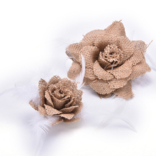 DIY Handmade Newborn Headband Burlap Flowers Hair Jute Flowers Wedding Party Decoration Home Ornaments Supply 2 Sizes