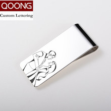QOONG Custom Lettering Silver Slim Pocket Cash ID Credit Card Money Clip Wallet Metal Money Holder Men's Steel Bill Clip Clamp(China)