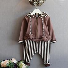 Boutique Kids Clothing Sets Two-piece Conjunto Infantil Menina Zipper Coat With Star Girl Clothes Striped Children's Tracksuit