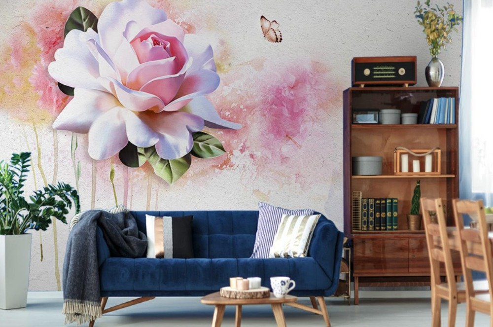 Beautiful Abstract 3d Wallpaper Murals Watercolor flowers three-dimensional Nabi American Backdrop living room 3d wallpaper<br>