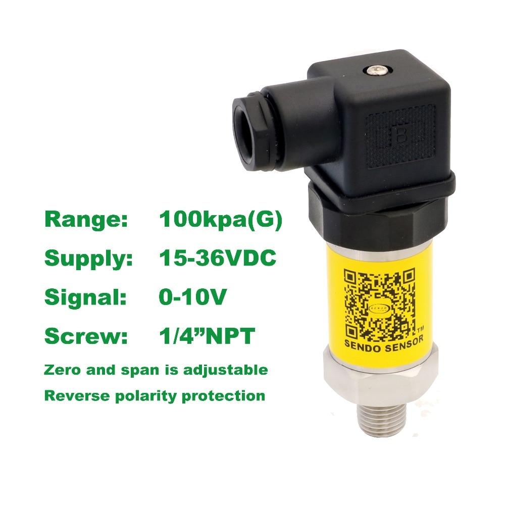 pressure sensor 0-10V, 15-36V supply, 100kpa/1bar gauge, 1/4NPT, 0.5% accuracy, stainless steel 316L diaphragm, low cost<br>