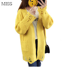 MISSFEBPLUM Women Casual Long Sleeve Crochet Knitted Cardigans Autumn Winter 2017 Hollow Out Sweater Poncho Cardigan Jacker Coat