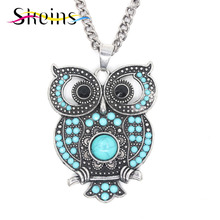 SKEINS Jewelry  Foreign Trade Boho Charm Long Popular Retro Personality Hollow Out Vintage Owl Pendant Necklace Sweater Chain