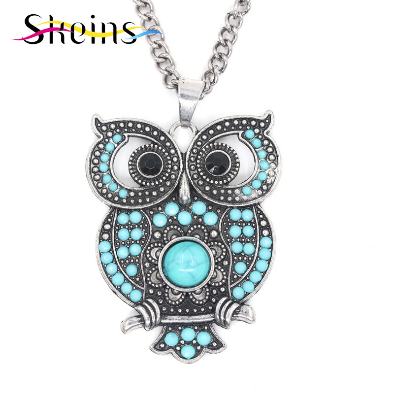 SKEINS Jewelry Foreign Trade Boho Charm Long Popular Retro Personality Hollow Out Vintage Owl Pendant Necklace Sweater Chain(China (Mainland))